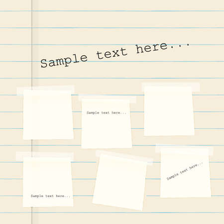 glued: Vector paper banners on background of lined paper