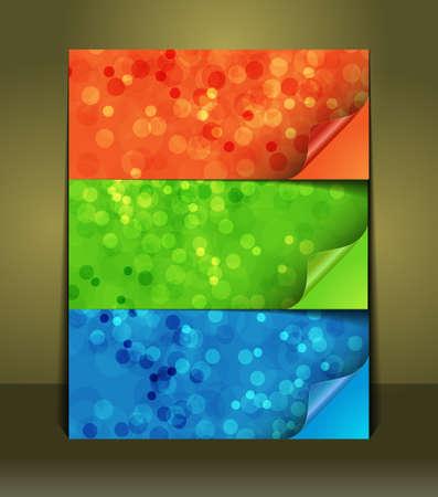 one sheet: Set di colori di adesivi bolle con bordo ripiegato della carta su un foglio