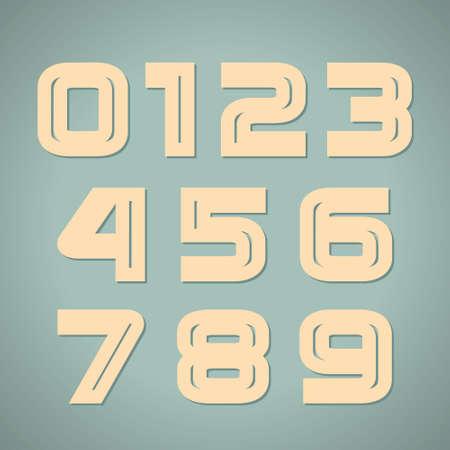 set retro style geometric numbers Illustration