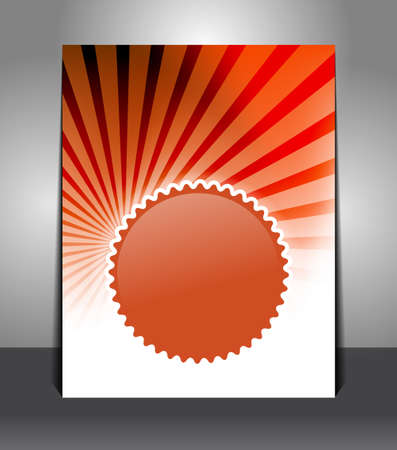Stylish flyer with badge on sunrays background. Design layout template