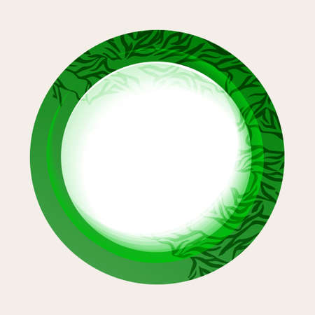 Green button with abstract leaves on a white background. Vector Illustration  Vector