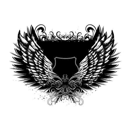 Shield with angel wings. Place for text Vector