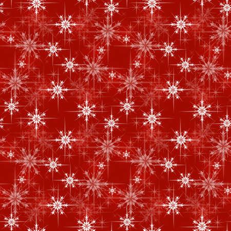 クリスマス包装紙柄、赤の背景に雪の結晶  イラスト・ベクター素材