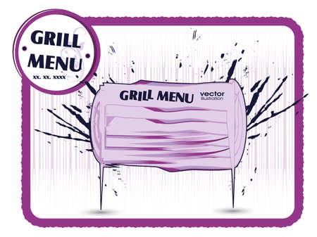 Grill menu card  Grungy design template  Vector