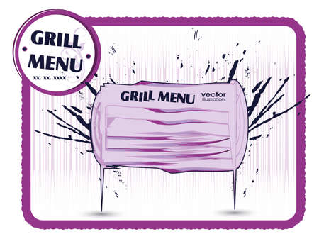 haunch: Grill menu card  Grungy design template  Illustration