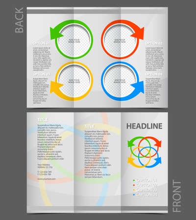 Tri-Fold Corporate Business Presentation Mock up & Brochure Design with buttons-arrows