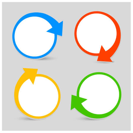 directional arrow: Vector set Icon with arrows, four colors, rotation, place for your text