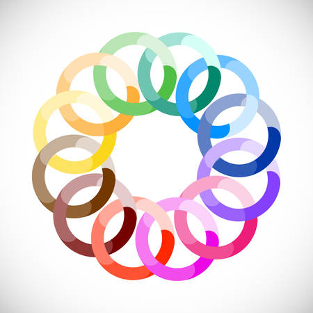 Geometric entwined wheels in color rainbow. Business abstract icon.