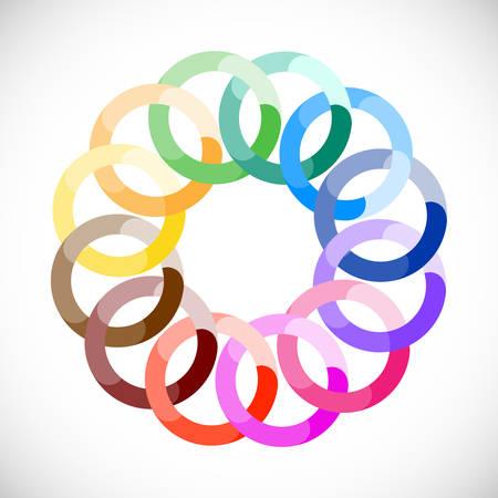 concentric circles: Ruedas entrelazadas geométricas en colores del arco iris. Icono abstracto de negocios.