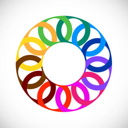Geometric entwined wheels in color rainbow. Business abstract icon. Vector