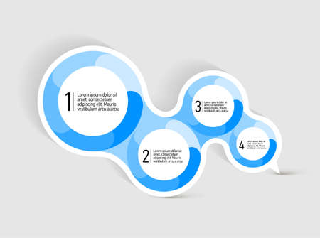 circle shape: Attractive Speach bubble with four round blue shapes  for text placement