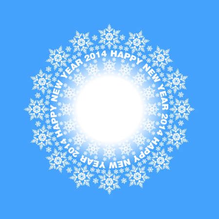 Snowflakes in a circle on blue illustration Vector