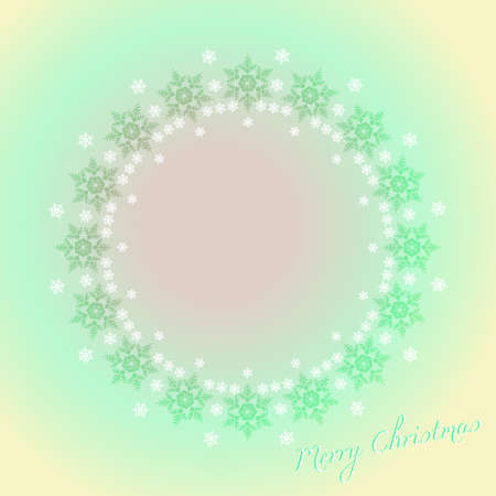 Merry Christmas card, snowflakes in a circle on blue illustration  Vector