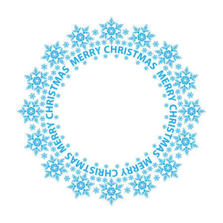 Merry Christmas card, blue snowflakes in a circle, illustration  Vector