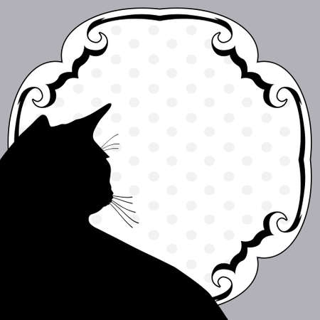 cat grooming: Art vintage notice board with silhouette cat