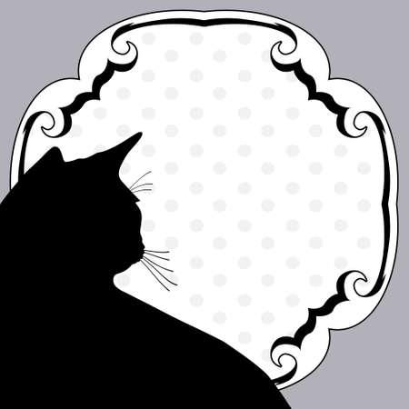silueta de gato: Cosecha de arte tablón de anuncios con la silueta del gato