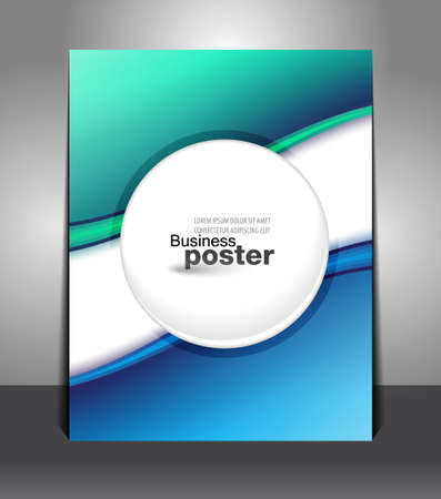 Stylish blue-green poster with a button in the middle. Design layout template