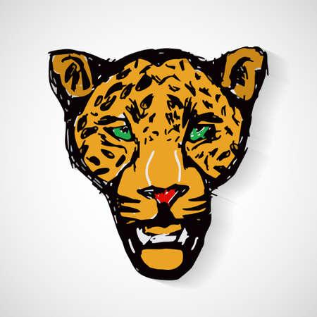 Art cartoon tiger head, vector format  Illustration