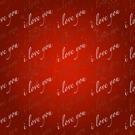 Valentines Day background pattern with inscriptions Vector