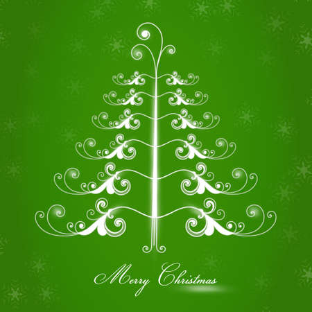 cute tree: Merry christmas, green background with a cute tree Illustration
