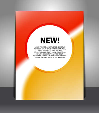 Stylish orange-red poster with circle in the middle. Design layout template  Illusztráció