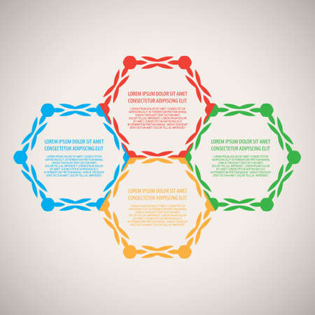 Decorative diagram  schema. Collection of four hexagon Vector