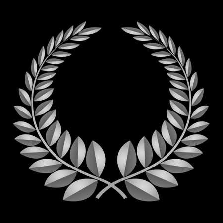 Grey laurel icon, isolated on black background  Vector