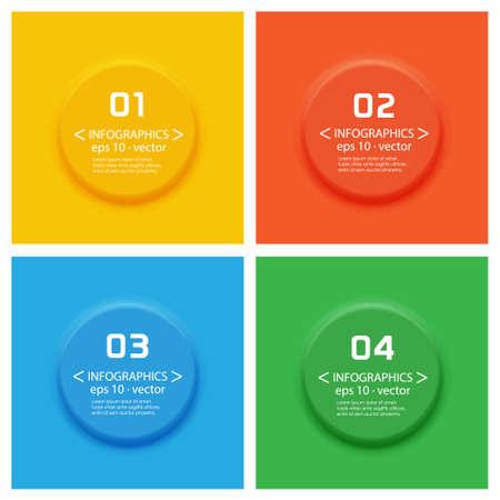 3d button: Abstract Vector color 3D button set