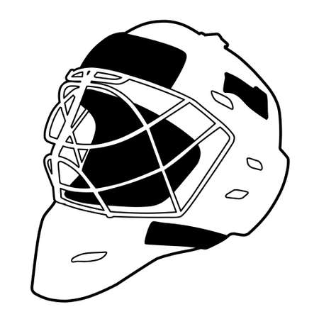 hockey equipment: Hockey helmet isolated vector illustration, goalie mask
