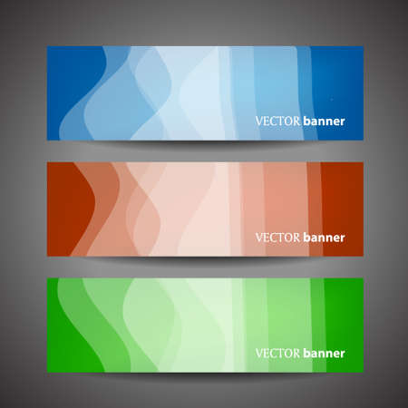 flexible business: Set vector progress designer banners with waves  variations in color. Product choice or versions.