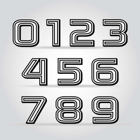 Vector set retro style black numbers with contour Illustration
