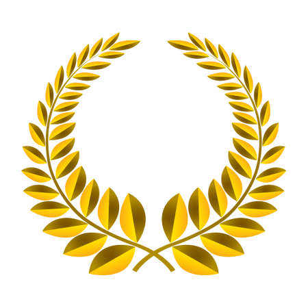 elite sport: Gold laurel wreath isolated icon
