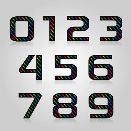 designed: Vector set retro style color numbers with lines