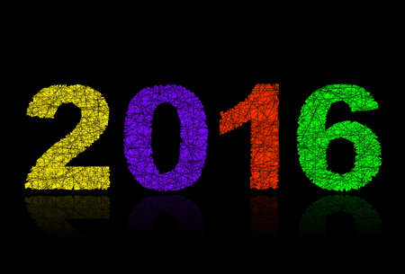 date night: Happy New Year 2016, numbers with lines
