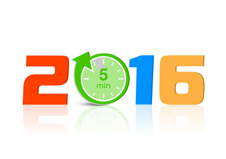 Happy new 2016 year with countdown, vector illustration