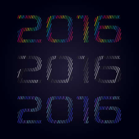 headline: Headline Happy New Year 2016, numbers with lines, Three color version Illustration