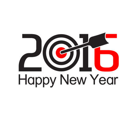 new years resolution: Happy new year 2016 text design with arrow at the target