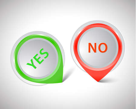 yes no: Vector pointer green Yes red No