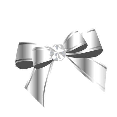 Silver ribbon with diamond, vector element