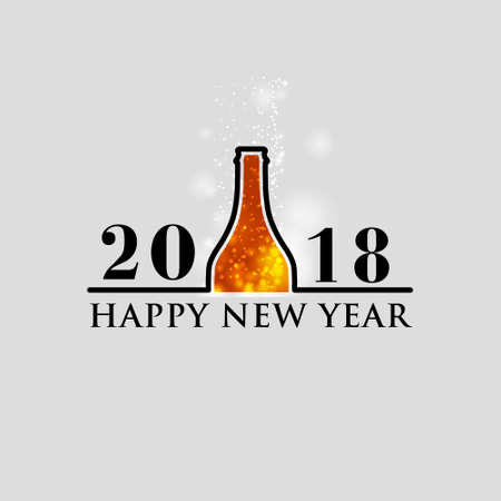 2018 Happy New Year with lighting a bottle on white background.