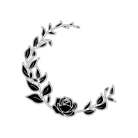Funeral card template with black wreath made from leafs and rose on white background Vektorové ilustrace