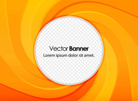 Abstract orange power banner with whirlpool. Stylish business vector presentation of art poster. Place for your text. Ilustracja