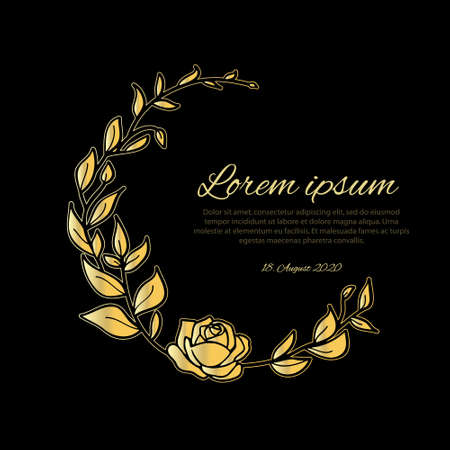 Funeral card template golden wreath made from leafs and rose on black background. Vector illustration.