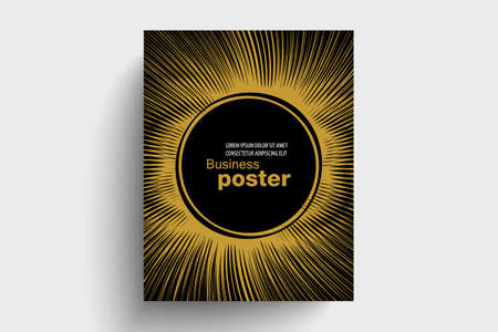 Stylish gold-black poster with rays, and round in the middle. Design layout template. Illusztráció