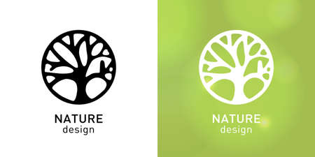 Vector logo of nature. Icon with tree, symbol health, spa, yoga Center. Ecology sign - logo design template.