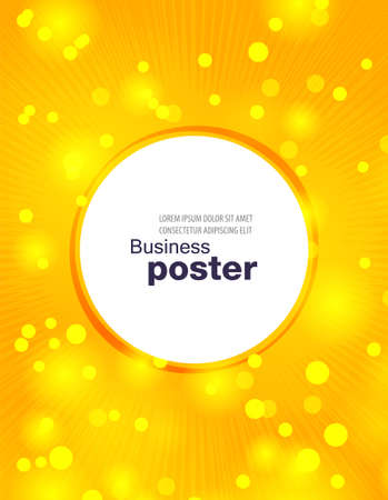 Stylish yellow poster with rays, bubbles and a button in the middle. Design layout template. Vektoros illusztráció