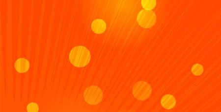 Stylish orange banner with rounds and rays for web. Design layout cover.