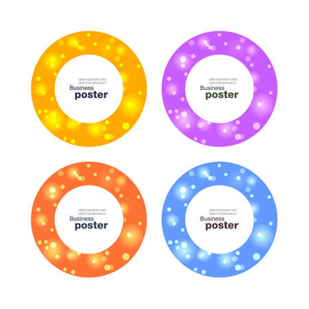 Glitter sticker in circle in color variations. Sale banner with glitter on color background. Vector illustration.