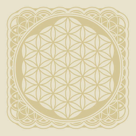 Flower of life decorative ornament, vector illustration. Sacred geometry in flower pattern shape.