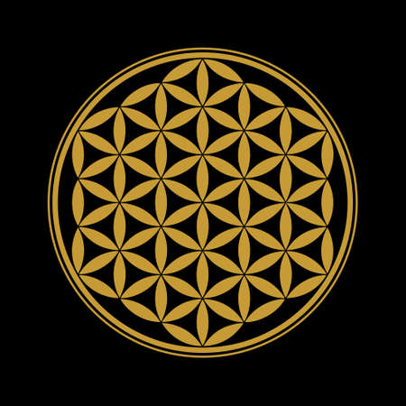 Flower of Life design image, vector illustration. Sacred geometry, symbol of healing and balance. Gold edition.